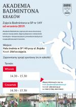 Zajęcia Badmintona w SP149 od września 2019
